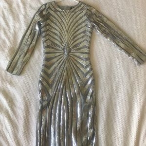 NWT ASOS Club L silver sequin midi dress